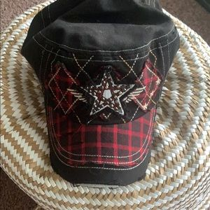 Black and Red Cap with Star in Rhinestones